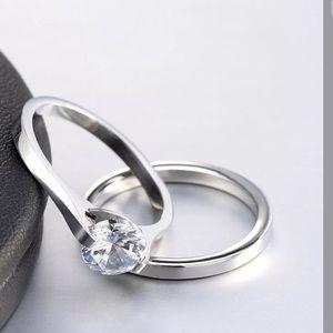 Jewelry - .75ct Round Cut Sapphire Ring set
